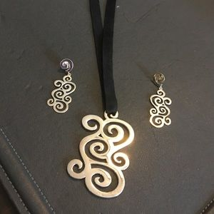 TOUS spirals Collect silver earrings and pendant